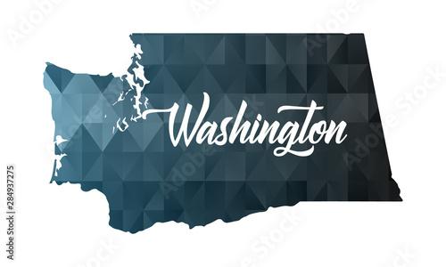 Stampa su Tela Washington state map. Geometric polygon map.