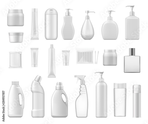 Obraz na plátne  Cosmetic containers and chemical plastic bottles