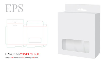 Obraz na płótnie Canvas Hang Tab Window Box Template, Vector with die cut / laser cut lines. White, clear, blank, isolated Hang Tab mock up on white background with perspective view. Paper Box with Handle, Packaging Design