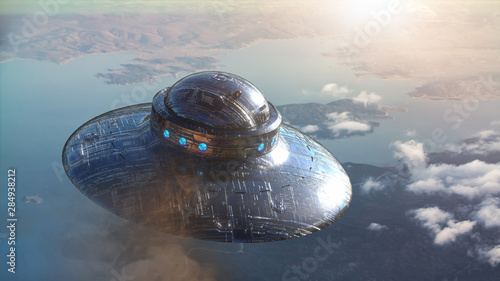 ufo flying. 3d render Wallpaper Mural