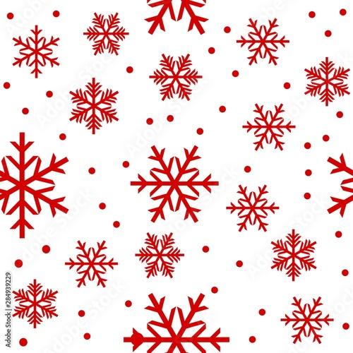 Fototapeta Seamless snowflakes red color on white background obraz na płótnie
