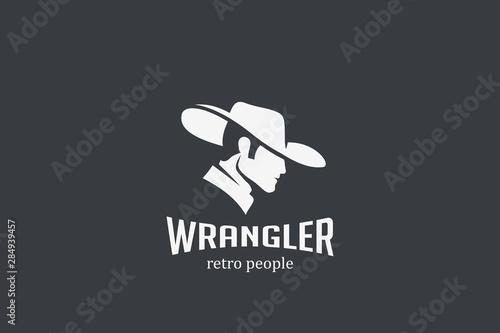 Cowboy Man in Hat Logo design silhouette vector template Negative space style Obraz na płótnie
