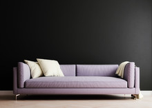 Mock Up Wall In Iris Violet Modern Interior Background, Living Room, Scandinavian Style, 3D Render, 3D Illustration