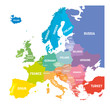 Map of Europe in colors of rainbow spectrum. With European countries names