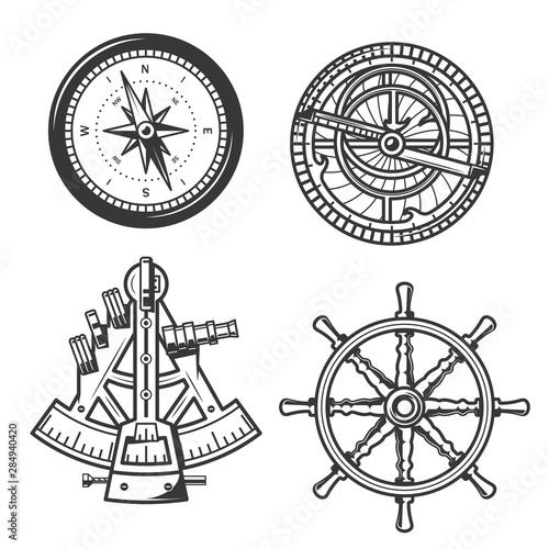 Marine navigation compass, ship helm and sextant Canvas Print