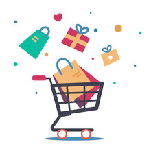 Sale Background. Cart With Gift Boxes, Paper Bags, Presents. Winter, Summer, Autumn, Spring Sale Concept. Hand Cart Truck With Presents. Vector In Flat Style