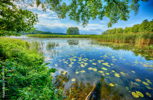 Beautiful summer day on masuria lake district in Poland