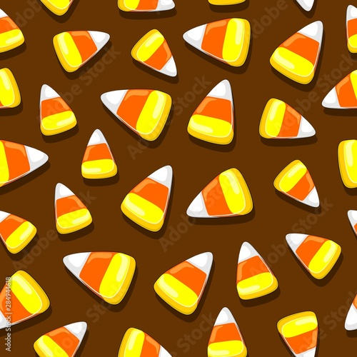 Tuinposter Draw Halloween Candies Festive Seamless Vector Textile Pattern