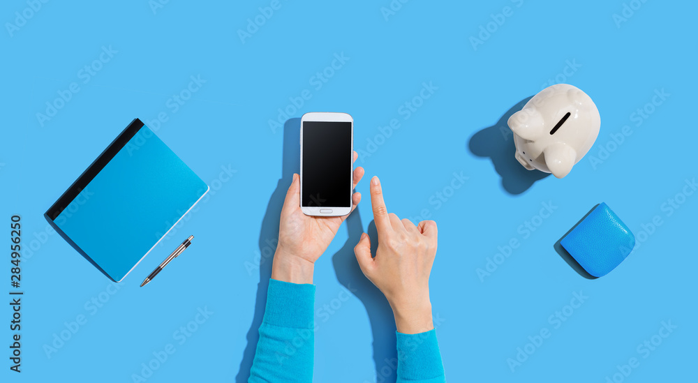 Fototapeta Person using a smartphone with a piggy bank