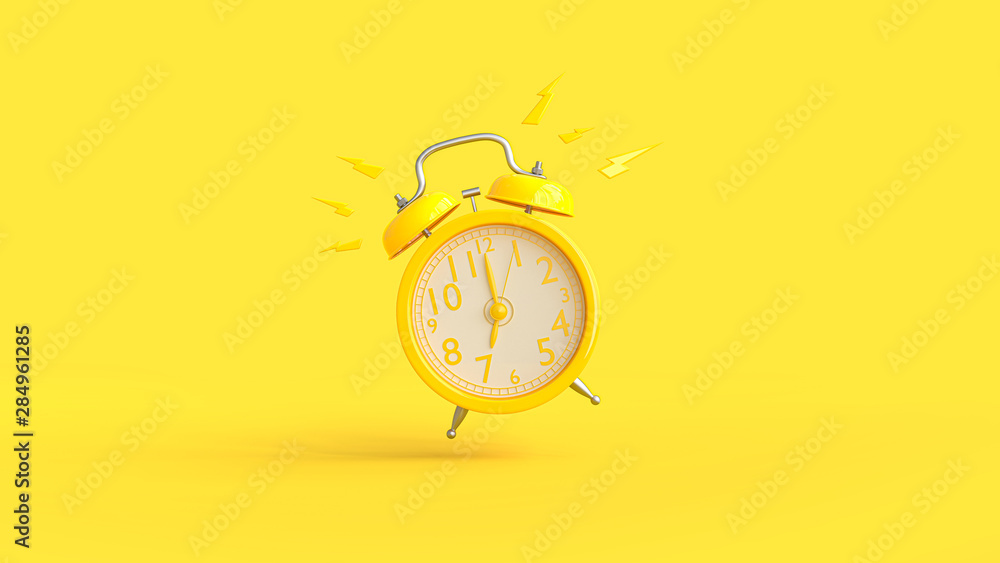 Fototapety, obrazy: Yellow alarm clock was ringing at 7.00.