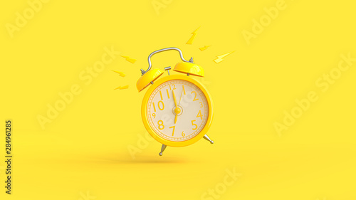 Fotomural  Yellow alarm clock was ringing at 7.00.