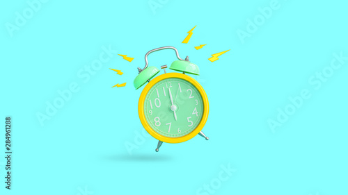 Yellow alarm clock was ringing at 6.00. Wallpaper Mural