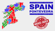 Symbol Mosaic Pontevedra Province map and stamps. Red rounded Nikkei Index grunge seal. Colorful Pontevedra Province map mosaic of different random symbols. Vector abstract combination.