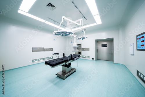 Carta da parati Equipment and medical devices in hybrid operating room blue filter , Surgical pr