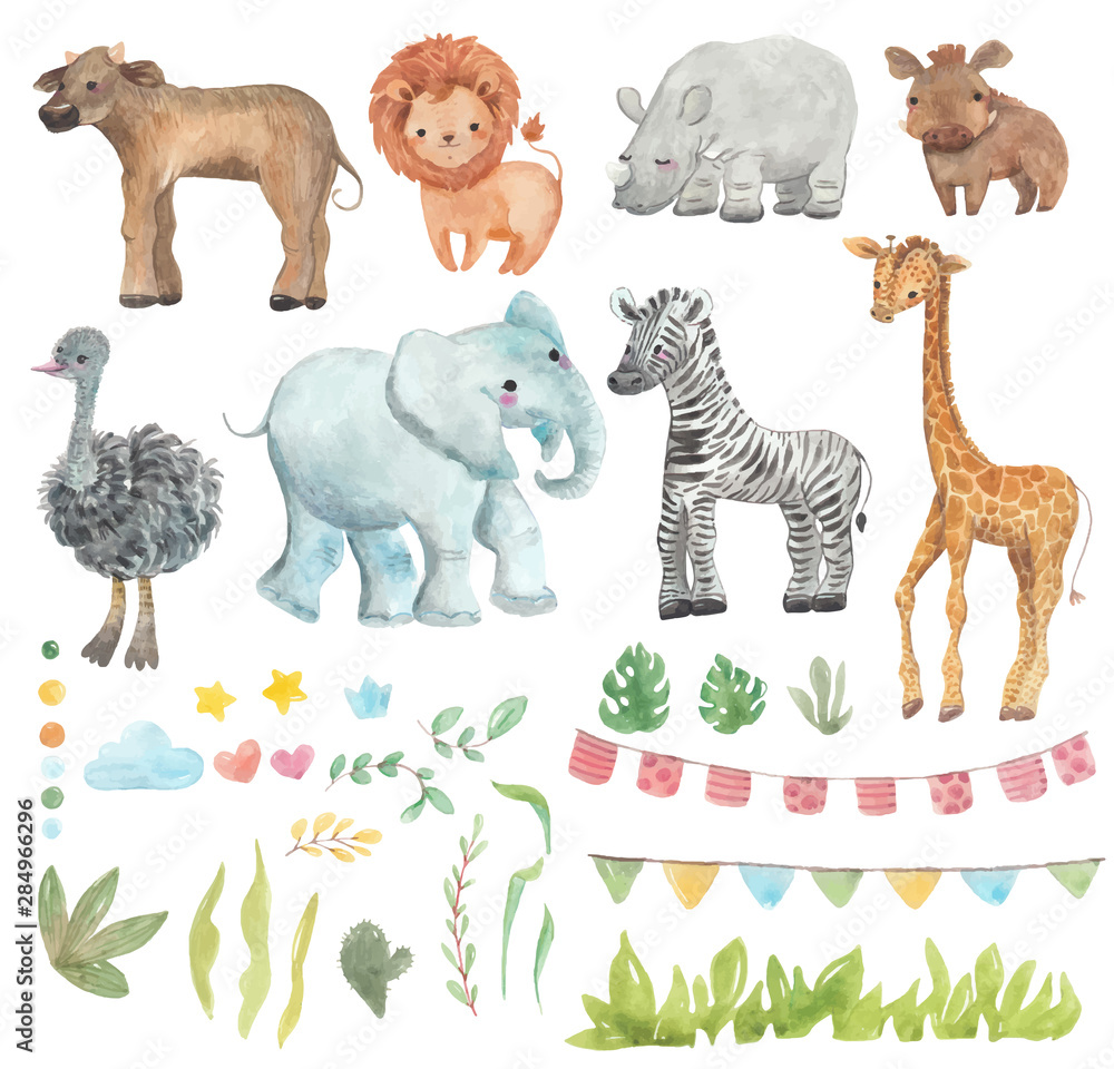 Fototapeta Africa watercolor set. Safari collection with giraffe, rhino, zebra, lion, warthog, ostrich, Buffalo, elephant. Watercolor cute animals.