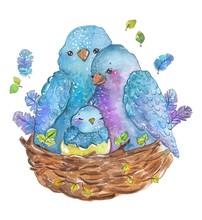 Watercolor Birds Family Mother...