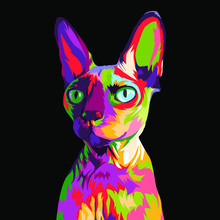 Sphyx Cat In Colorful Pop Art ...
