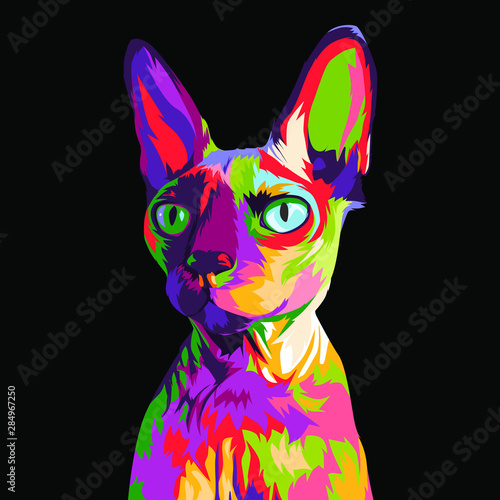 Sphyx Cat in colorful pop art illustration Wallpaper Mural