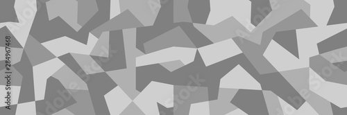 Fotomural  Geometric camouflage pattern, seamless gray background