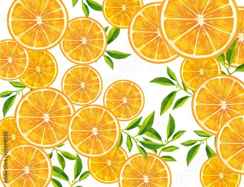 Fotografie, Obraz オレンジ 果物 フルーツ 背景 フレッシュ素材 果汁 マンダリンオレンジ 断面図 カット 背景素材
