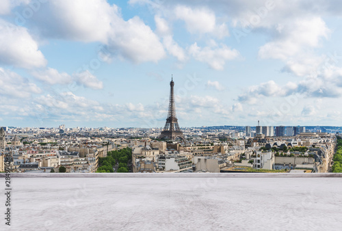 Garden Poster Paris Eiffel tower, famous landmark and travel destination in France, Paris with empty concrete terrace