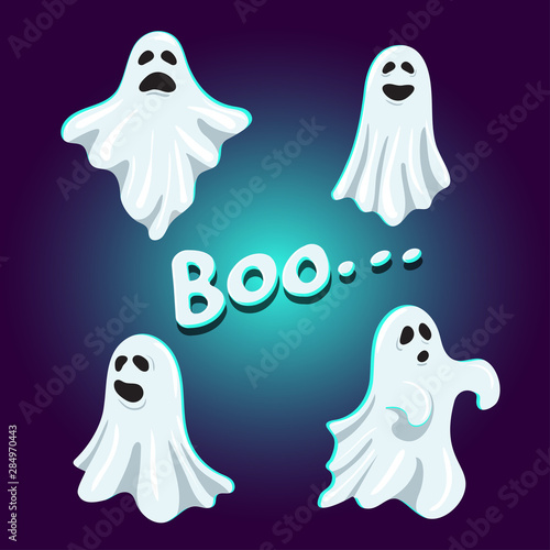 Obraz na plátně Set of cute boo ghost character, vector illustration template