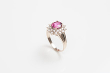 Ring Of The Jewelry With Pink Sapphire Isolated On White Background