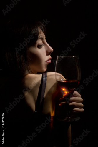 Girl with a glass Wallpaper Mural