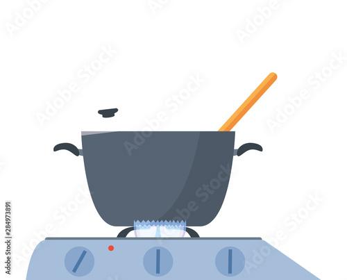 Fotografija pot spoon stove preparation cooking