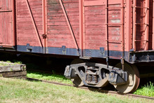 Close Up View Of An Antique Deteriorated Wooden Railway Train Boxcar