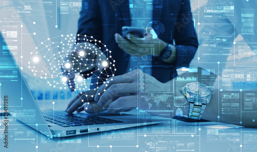 Obraz AI, artificial intelligence conceptual with computer interface of business team, big data management use AI technology computing - fototapety do salonu