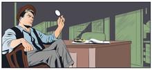Bored Retro Detective. Stock Illustration.
