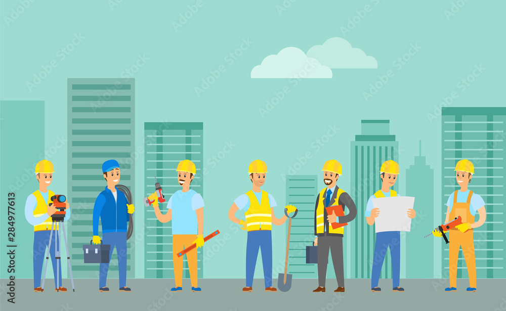 Fototapeta Engineers and builders vector, man wearing uniform holding drill in hands, cityscape with building and clouds, supervisor with box suitcase tools