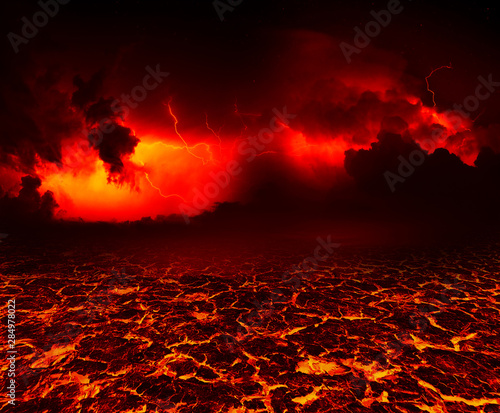 Papiers peints Feu, Flamme the surface of the lava. background