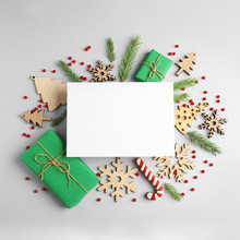 Composition With Christmas Decor And Blank Card On White Background, Top View