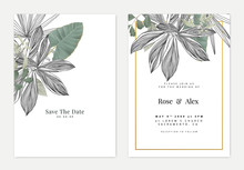 Minimalist Botanical Wedding Invitation Card Template Design, Black And White Leaves Line Art Ink Drawing And Various Green Leaves On White