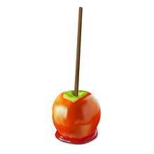 Apple Caramel Green. Vector 3d Realistic
