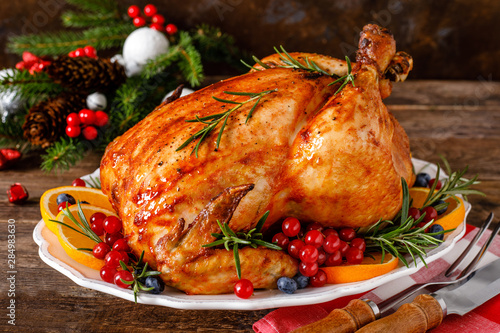 Christmas turkey. Traditional festive food for Christmas or Thanksgiving - 284983630