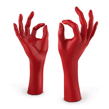 Red Mannequin Female Hand. Vector 3D Illustration Isolated On A White Background
