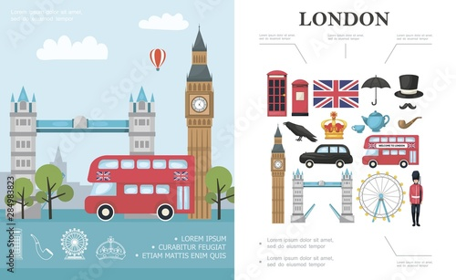 Fototapeta Flat Travel To London Concept obraz