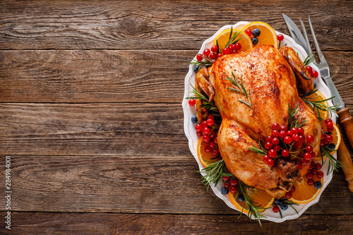 Christmas turkey. Traditional festive food for Christmas or Thanksgiving - 284984001