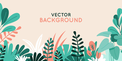 Vector illustration in simple flat style with copy space for text - background with plants and leaves
