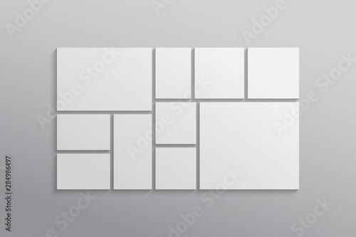 Photo Vector empty collage board ten frames, photo