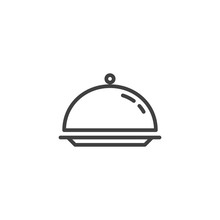 Cloche, Food Tray Line Icon. L...