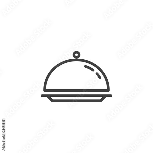 Obraz na plátně Cloche, food tray line icon