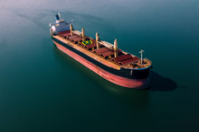 Shipping Cargo To Harbor By Ship. Water Transport International. Aerial View