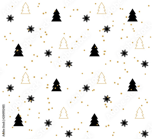 plakat White Seamless pattern with black Christmas trees