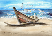 Watercolor Picture Of An Old Fishing Boat On The Sandy Beach With Some Seagulls
