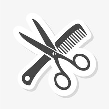 Scissor And Comb Sticker Icon ...