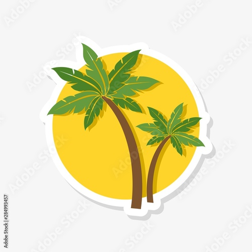 Palm tree sticker icon isolated on white background. Palm tree icon simple sign Wall mural